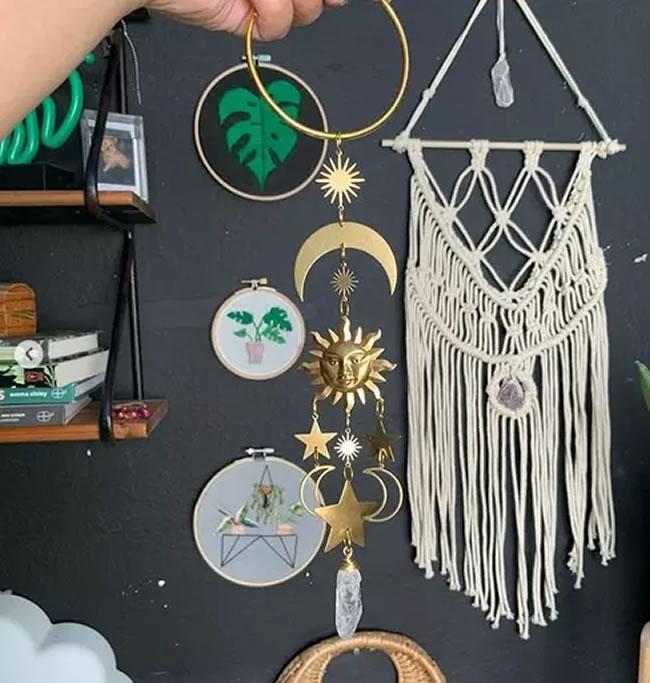 Móbile Astros com Sol e Estrelas com Cristal (26cm)