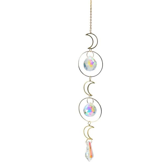 Móbile com Três Luas e Esferas de Cristal (38cm)
