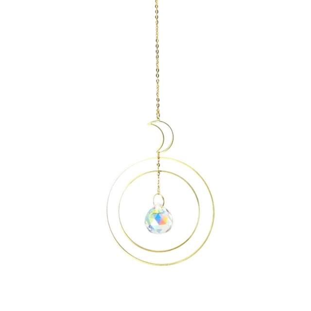 Móbile Lua com Círculos em Metal e Cristal (35cm)