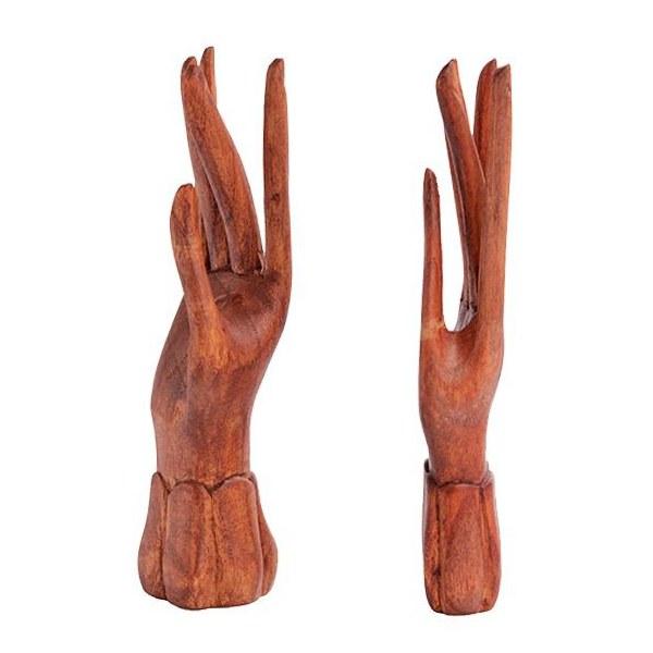 Par de Mãos Artesanal em Madeira Suar (Média)