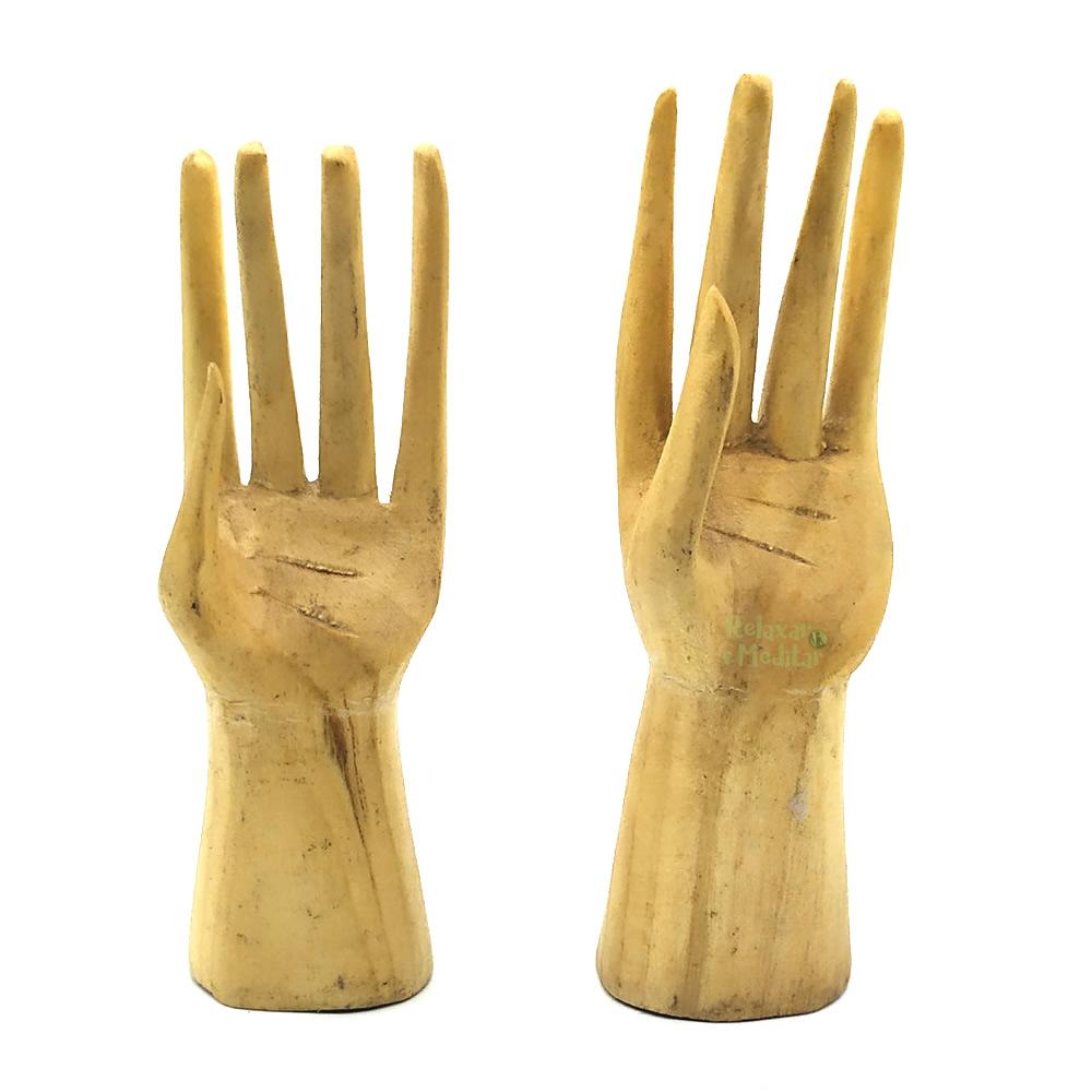 Par de Mãos Artesanal em Madeira Suar (Pequena)