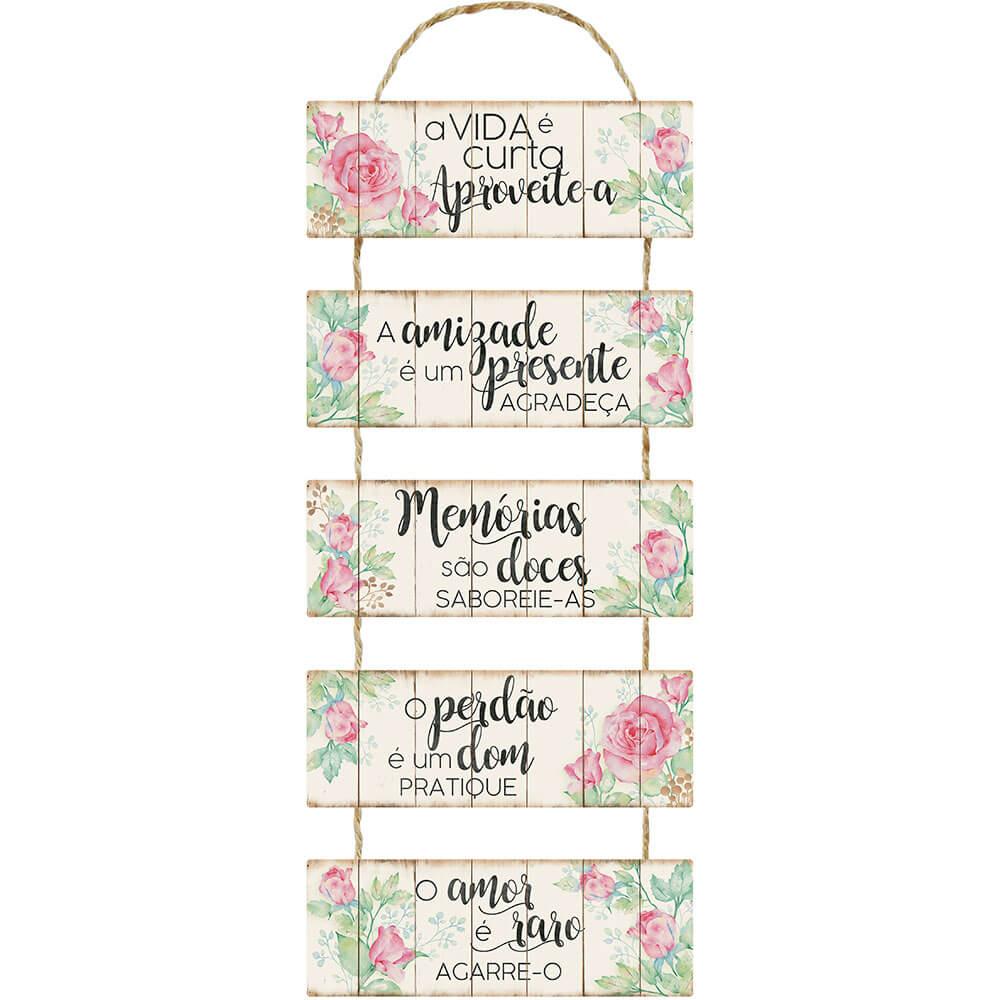 Placa Decorativa A Vida é Curta Aproveite-a (29,5x90cm)