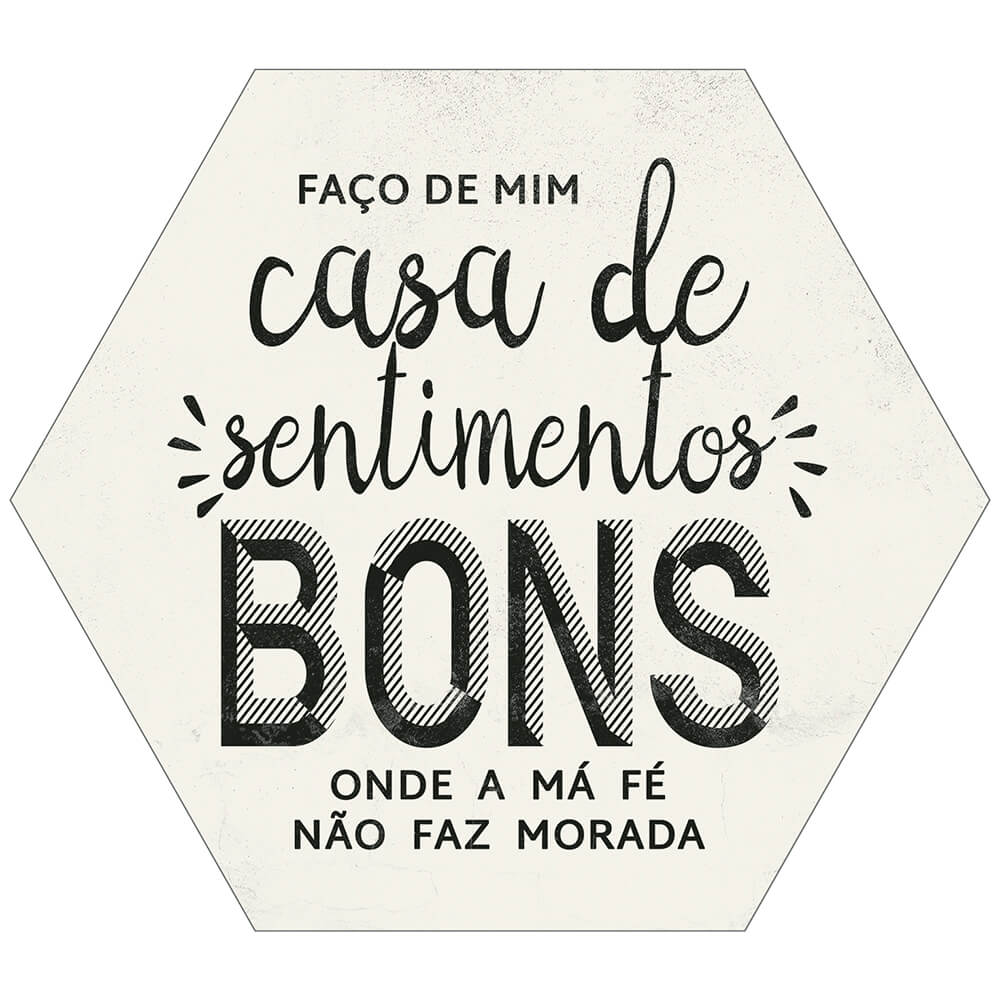 Placa Decorativa Bons Sentimentos (25x22cm)