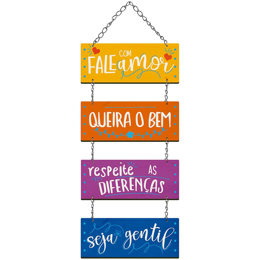 Placa Decorativa Fale com Amor e Queira Bem (55x20cm)