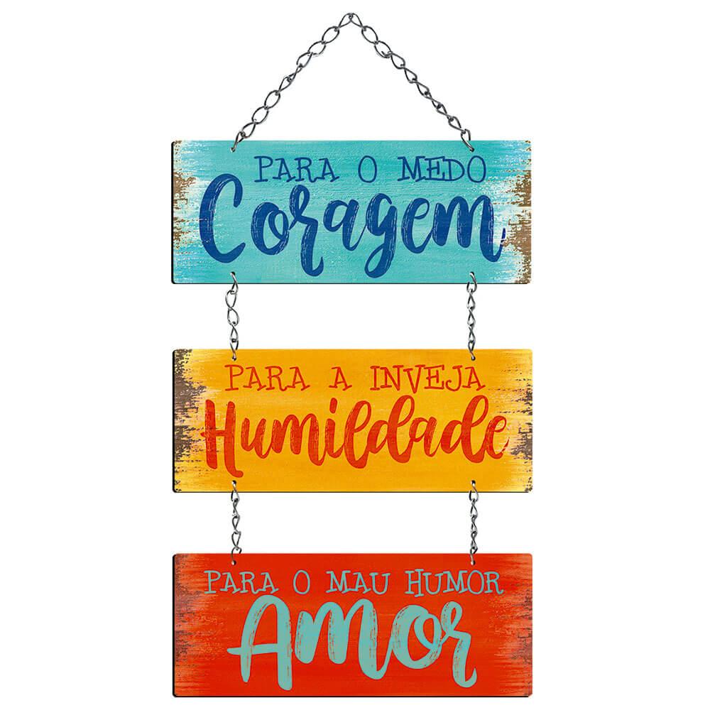 Placa Decorativa Frase Para o Medo (25x11cm)