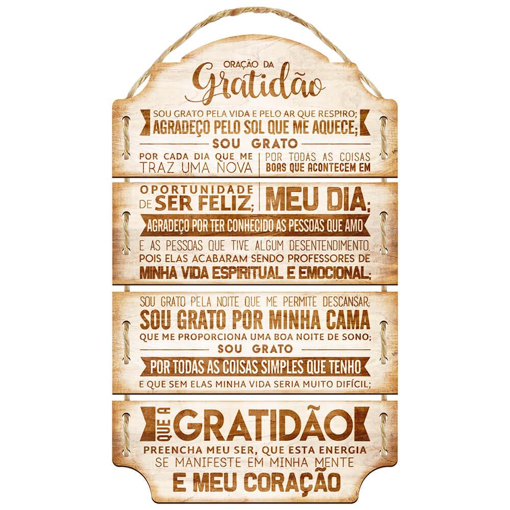 Placa Decorativa Oração da Gratidão (29x14cm)
