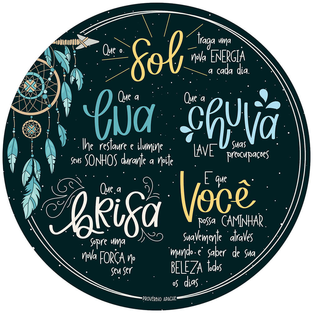 Placa Decorativa Provérbio Apache  (29x29cm)