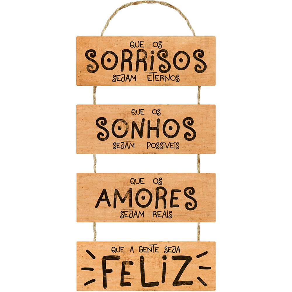Placa Decorativa  Que o Sorrisos (29,5x65cm)