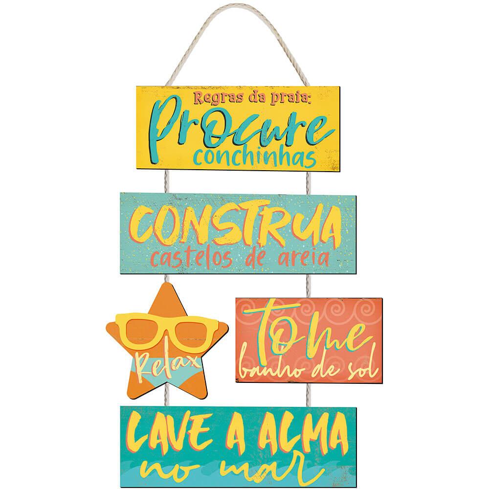 Placa Decorativa Regras da Praia (33x14cm)