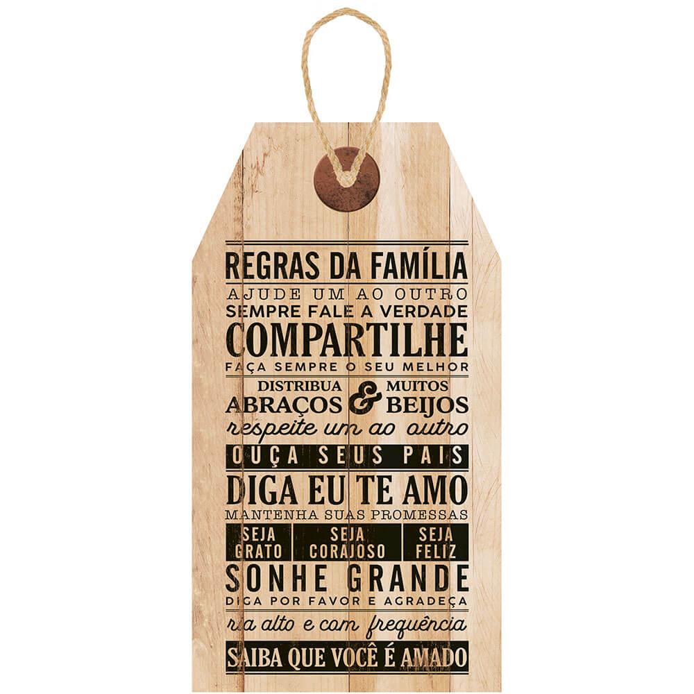 Placa Decorativa Tag Regras da Família (19x35cm)