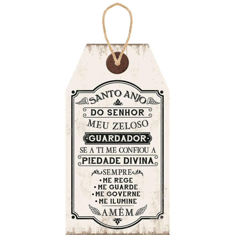 Placa Decorativa Tag Santo Anjo (19x35cm)