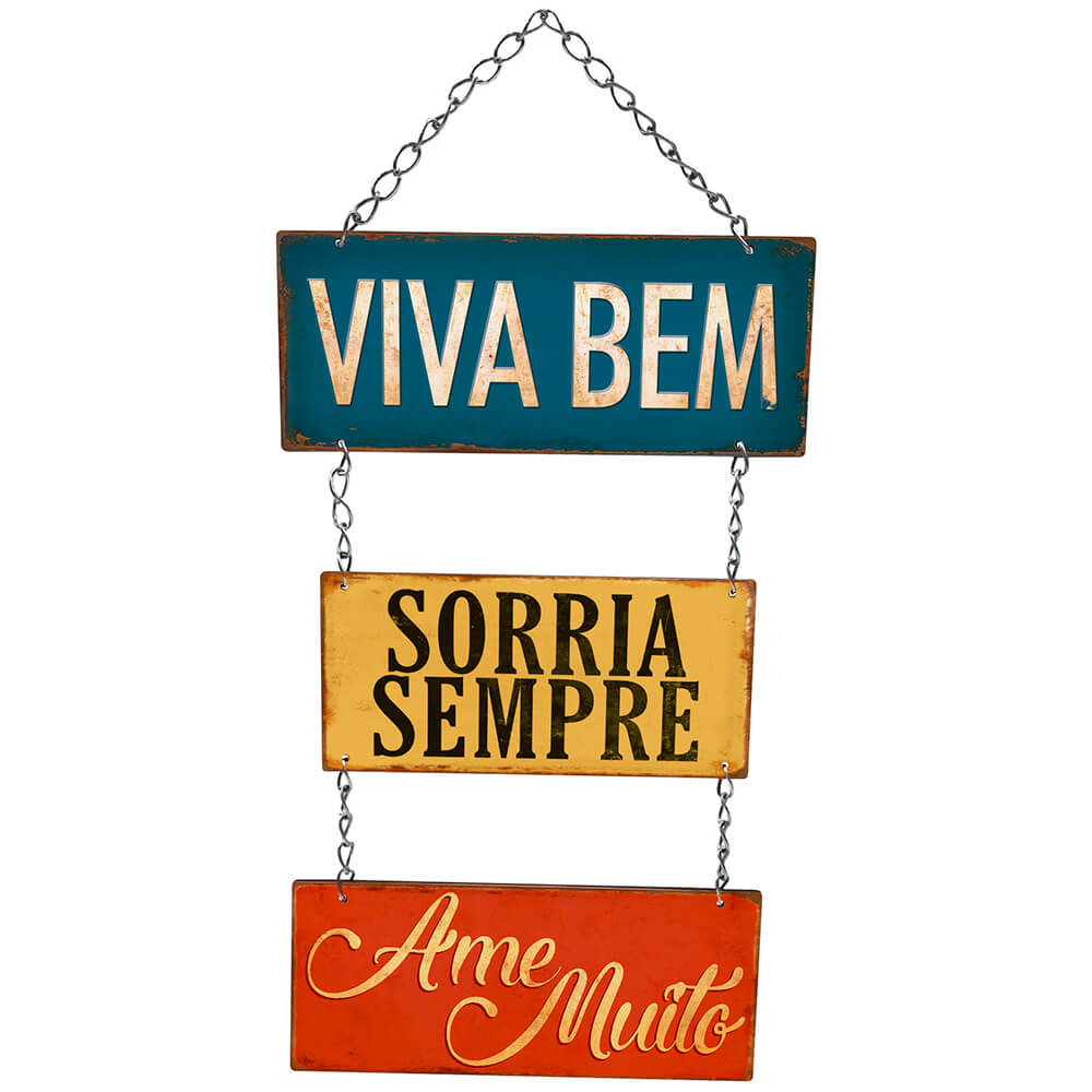 Placa Decorativa Viva bem, Sorria Sempre (20x8,5cm)