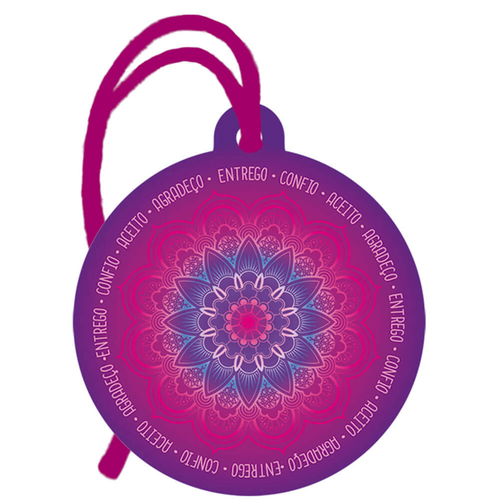 Placa TAG em MDF Mandala, Entrego, Confio, Aceito, Agradeço (8x9cm)
