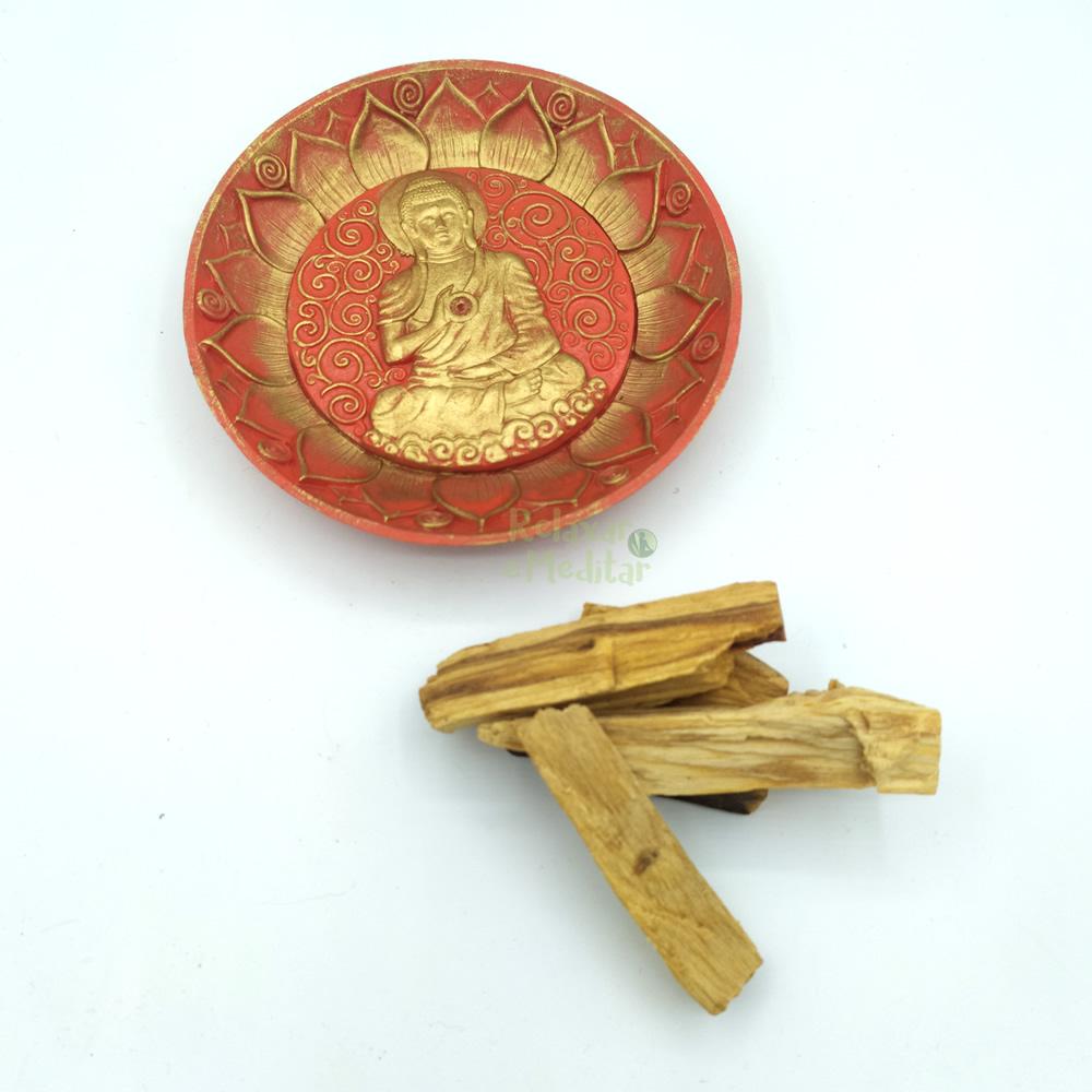 Porta Incensos Buda com Base para Palo Santo (15cm)