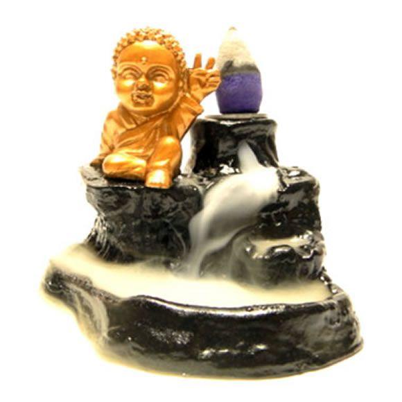 Porta Incensos Cascata de Fumaça com Buda Baby Paz e Amor