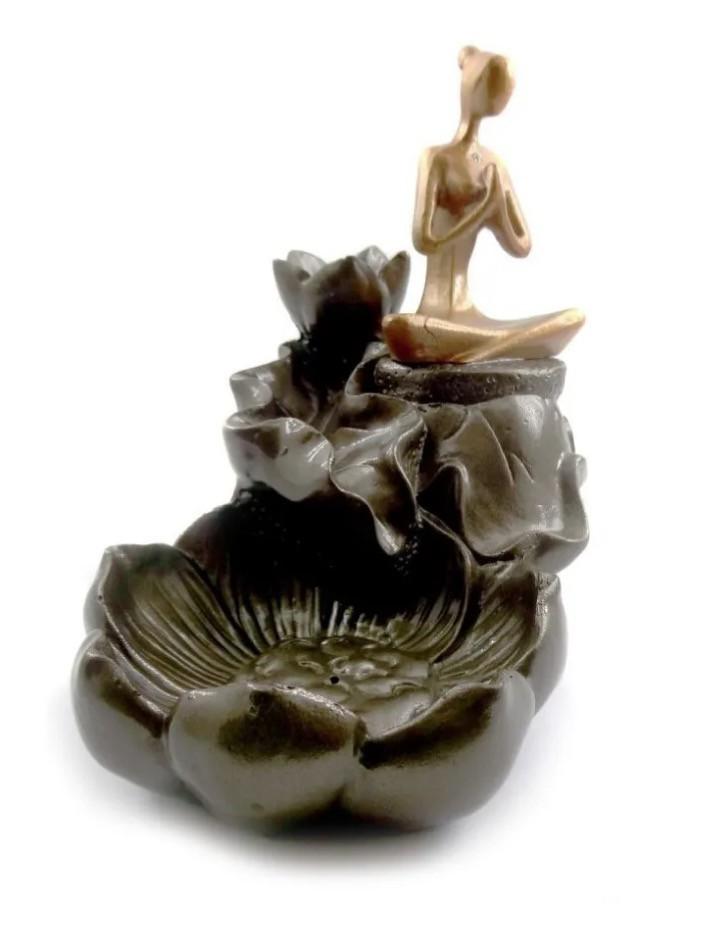 Porta Incensos Cascata de Fumaça com Yoga (13cm)