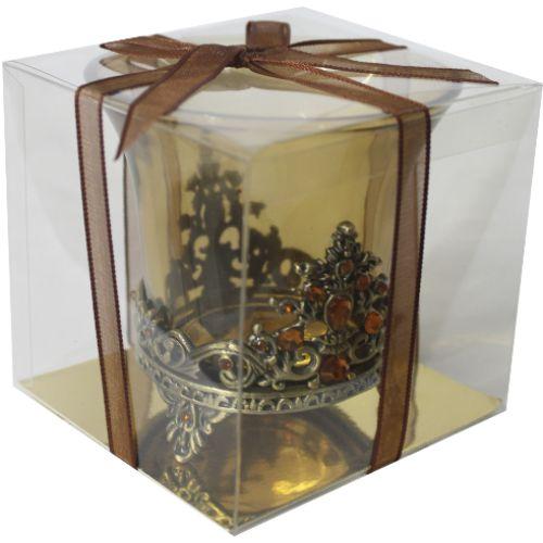Porta Vela Arabesco em Vidro (Ouro Velho)