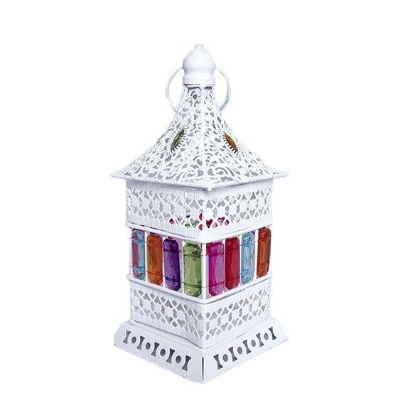 Porta Vela Lamparina Quadrada com Cores (Branca)