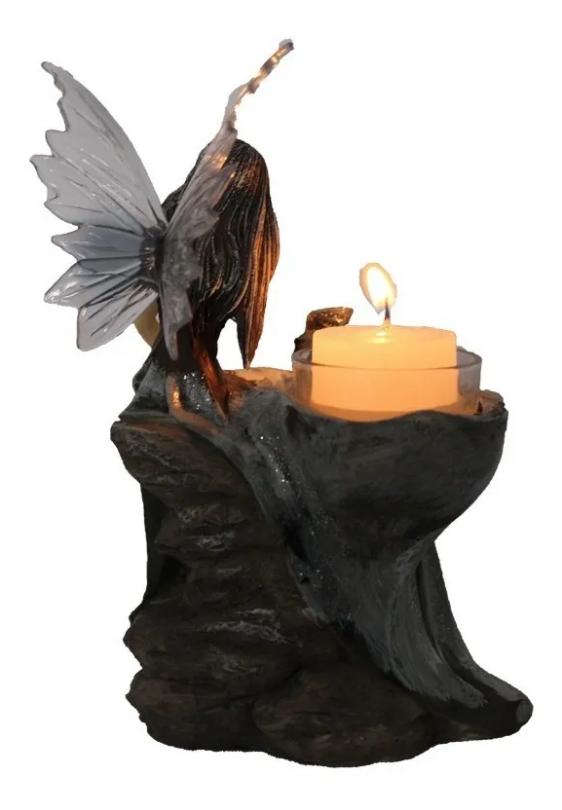 Porta Velas Fada Sentada com Dragão