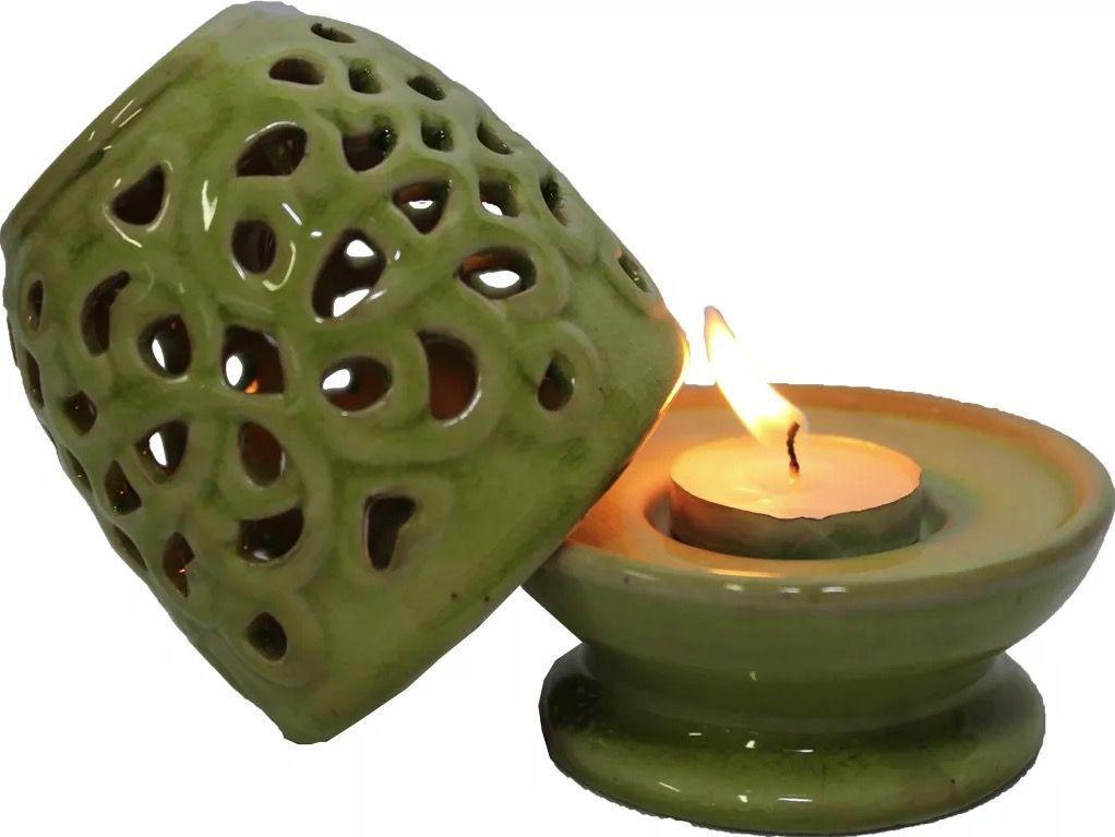 Porta Velas Rechaud Pinha Verde em Cerâmica (11cm)