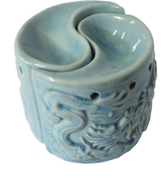 Porta Velas Rechaud Yin Yang em Cerâmica