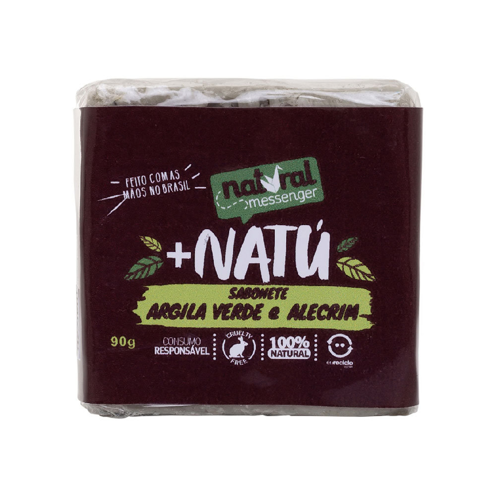 Sabonete Esfoliante de Argila Verde com Alecrim Natural Messenger (90g)