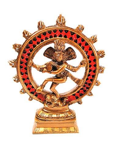 Shiva na Roda de Fogo com Cristais (21cm)
