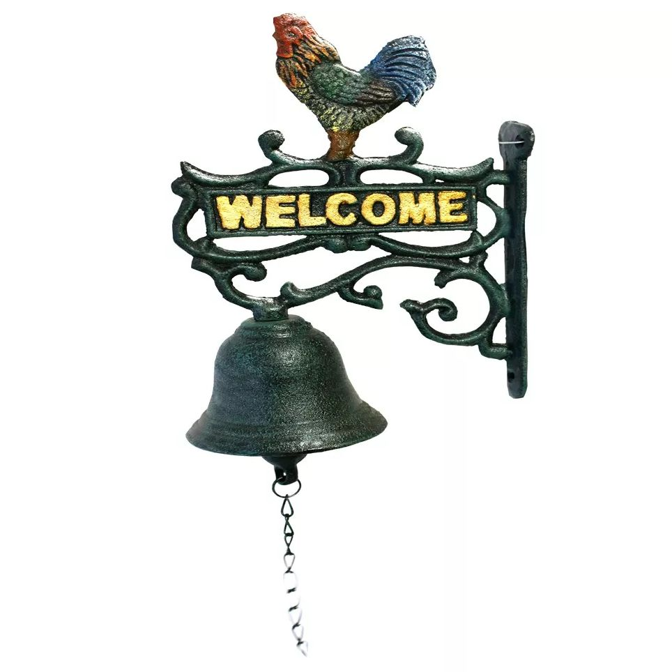Sino de Ferro Welcome com Galo (41cm)