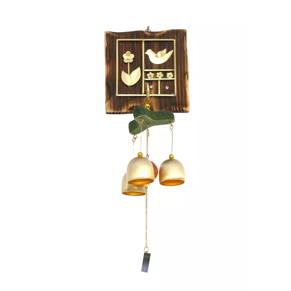 Sino dos Ventos Placa Quadrada com Flor e Pássaro (28cm)