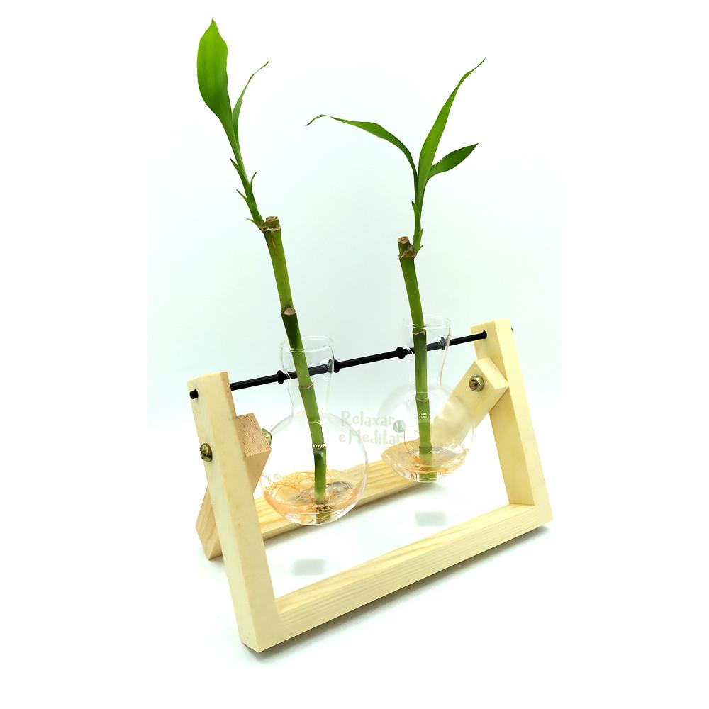Suporte em Madeira com Dois Vasos Pendentes para Bambu da Sorte