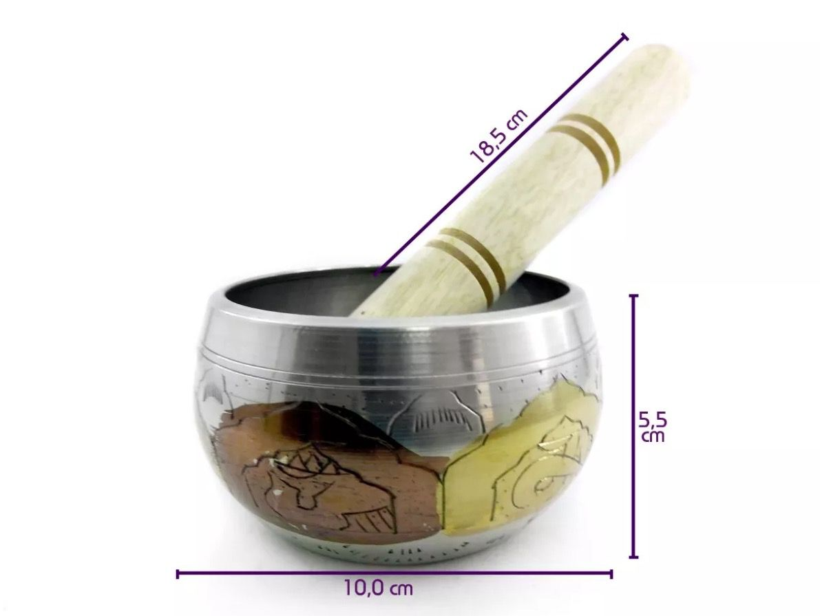 Tigela Tibetana 7 Metais Sagrados Orin (10cm) Prata