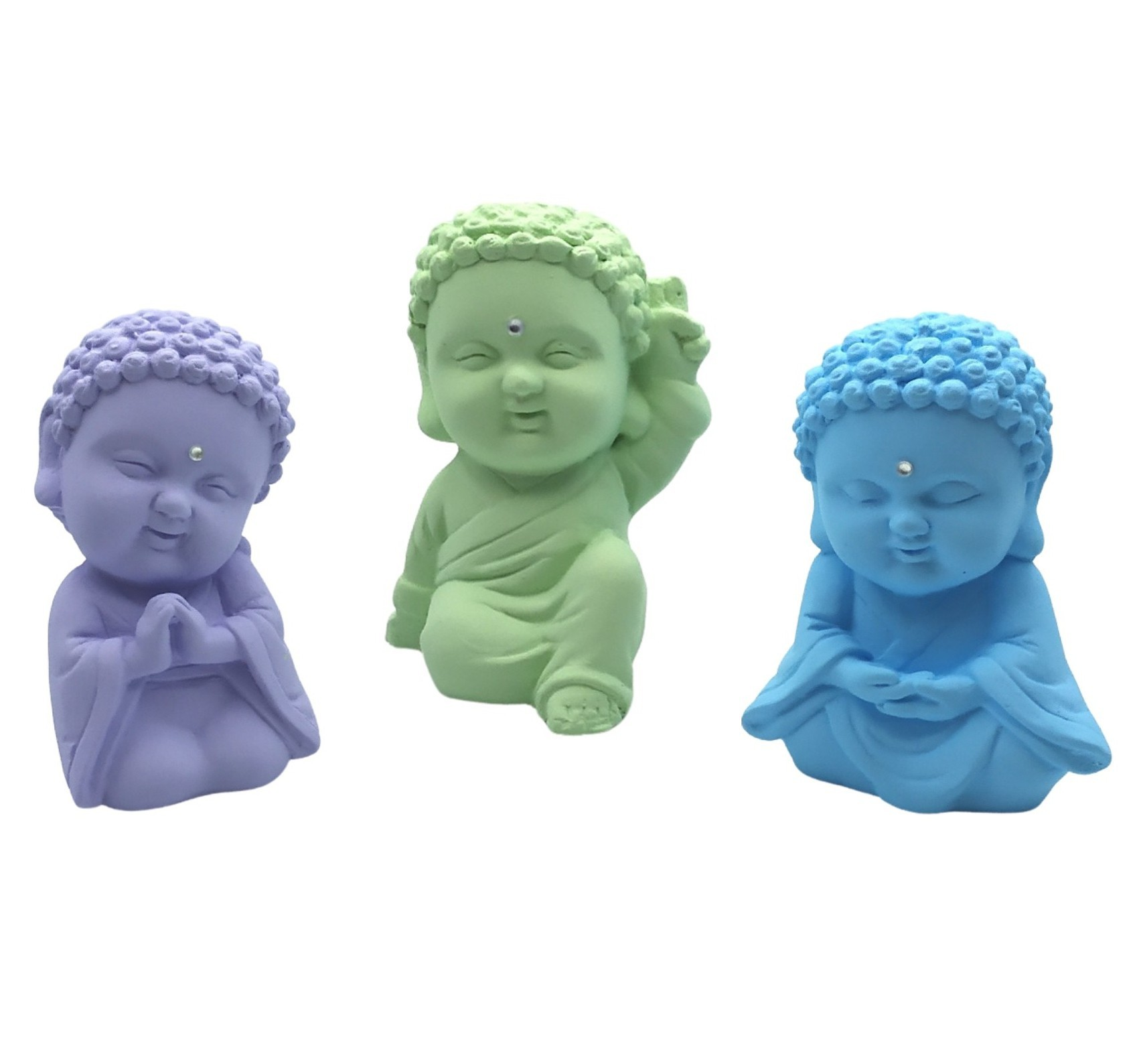 Trio Buda Baby com Cristal (9cm) Azul Bebê, Lilás Bebê, Verde Bebê