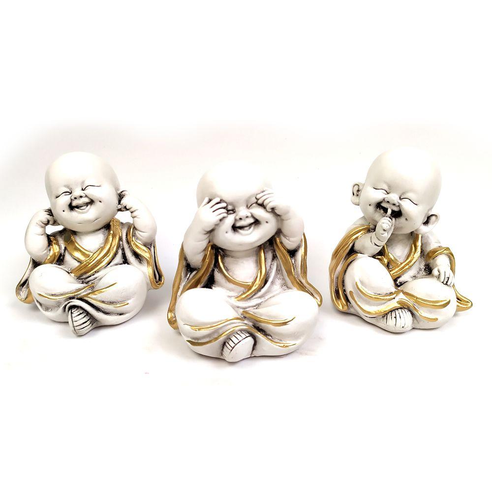Trio de Monges Nada Vejo, Nada Falo, Nada Ouço (9cm)