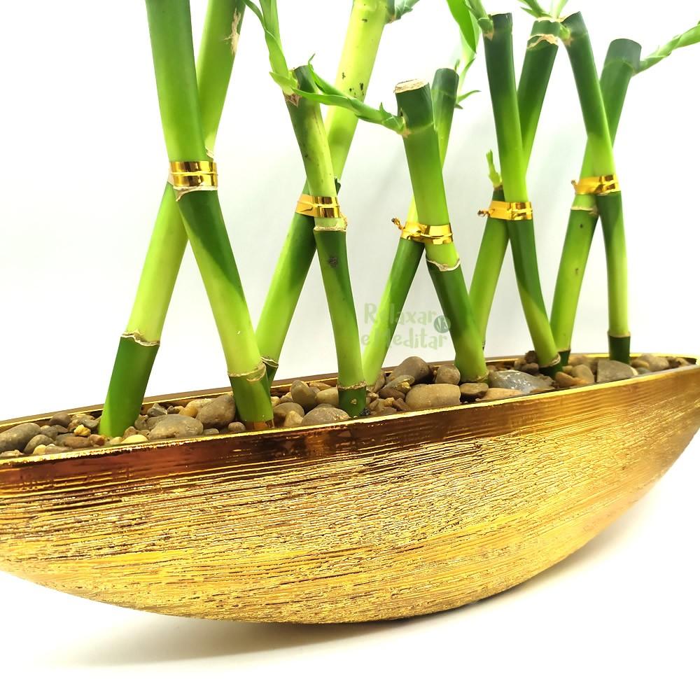 Vaso Canoa Dourada em Cerâmica com Dez Bambus da Sorte