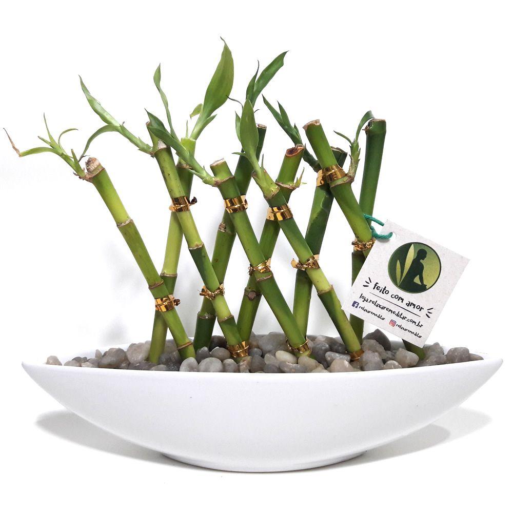 Vaso Canoa em Cerâmica com Dez Bambus da Sorte (Branco)