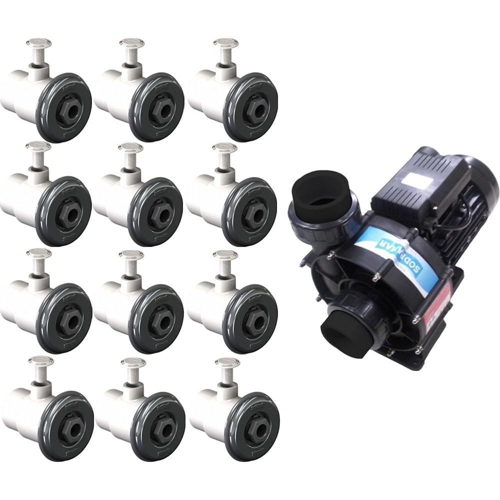 12 Dispositivo Hidromassagem Inox Standard Vinil + Bomba Sodramar Piscina