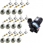 12 Dispositivos de Hidromassagem Inox Flat + Bomba Sodramar Piscina