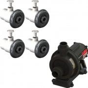 4 Dispositivo Hidromassagem Inox Standard Vinil + Bomba Sodramar Piscina