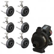 6 Dispositivo Hidromassagem Inox Standard Vinil + Bomba Sodramar Piscina