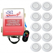 Kit 10 LED Piscina Inox RGB 18W + Central + Controle Touch