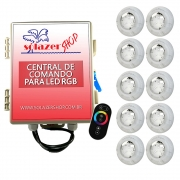 Kit 10 Led Piscina RGB 4W + Central + Controle Touch - Luxpool