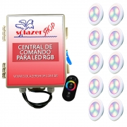 Kit 10 Led Piscina RGB 6W ABS Divina Lux + Central + Controle