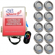 Kit 10 Led Piscina RGB COB Colorido Sodramar + Central Touch