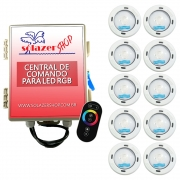 Kit 10 Led Piscina RGB Colorido COB Sodramar + Central Touch