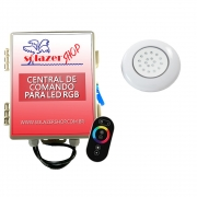 Kit 1 LED Piscina ABS RGB 18W + Central + Controle Touch