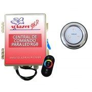 Kit 1 Refletor LED Piscina RGB 9W Inox + Central Touch