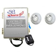Kit 2 Led Piscina Monocromático 9W + Central + Controle - Luxpool