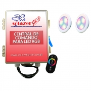 Kit 2 Led Piscina RGB 6W ABS Divina Lux + Central + Controle