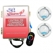 Kit 2 Led Piscina RGB Colorido COB Sodramar + Central Touch