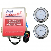Kit 2 Refletor LED Piscina RGB 9W Inox + Central Touch